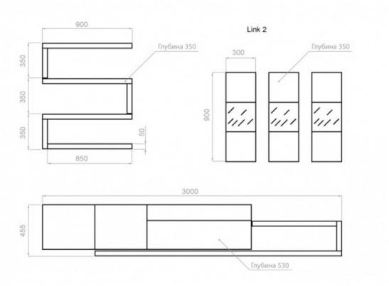 Гостиная LINK 2 (3000x1900x530)