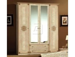 Шкаф 4-х дверный зеркальный «Рома» беж