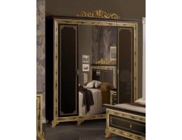 """Шкаф 4-х дверный с зеркалами """"Катя"""" (черный)"""