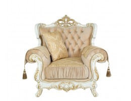 Кресло Эсмеральда, белый (ткань золото)