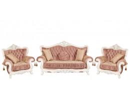 Комплект мягкой мебели Эсмеральда, белый (ткань пудра)