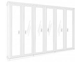 Шкаф 6-створчатый с зеркалами Натали, белый