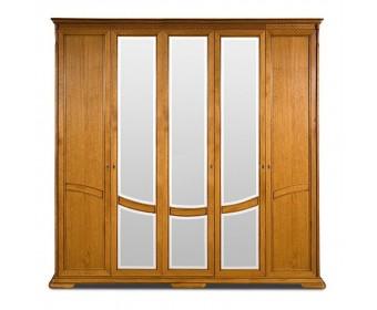 Шкаф для одежды Лика пятистворчатый с металлическими ручками, цвет медовый дуб ММ-137-01/05