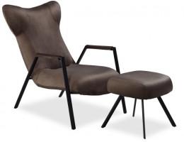 Кресло с пуфом TROPEA, серо-коричневый